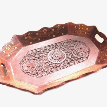 Vintage Wooden Tray, India Handmade Brass Inlay Wood Carving