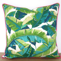 Swaying palm leaf pillow case indoor outdoor fabric, green and pink outdoor bench cushion, banana leaf outdoor pillow cover accent piping