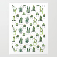 watercolour cacti and succulent Art Print by Vicky Webb