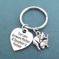Elephant, The Love between Mother & Daughter is Forever, Key chain, Animal, Key ring, Love, Heart, Lovers, Friends, Christmas, Gift, Jewelry