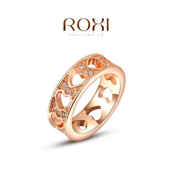 ROXI Luxury Heart Shaped Around Ring 18K Rose Gold / White Gold Plated Inlaid Crystal Elegant Tin Alloy Ring Fashion Jewelry 's For Women = 1958417796