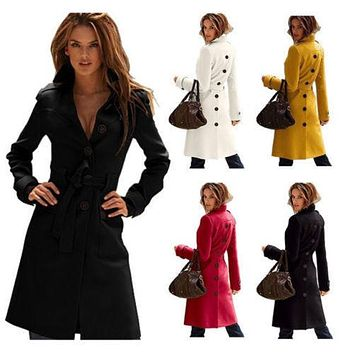 2014 New Arrive Brand Women's Wool Blend Military Solid Slim Trench Outwear Coat Belted Long Coat Winter Autumn Outwear Coats