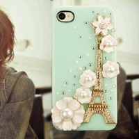 New Fashion Creative Handmade Series 3D Bling Rhinstones Golden Eiffel Tower and Lucky White Shine Flowers Protector Hard Case Cover for Apple iPhone 4 4S (Green)-Retail Packaging