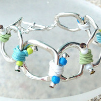 Spring 2014 Collection Silver Ring Bracelet with Light Green and Light Blue Tone Cords