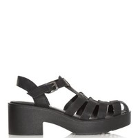 Black Chunky Caged Sandals