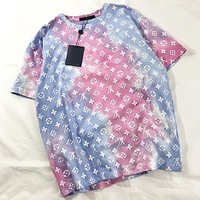 LV New fashion multicolor monogram print couple top shirt