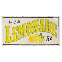 Vintage Embossed Metal Lemonade Sign -- 36-1/4-in