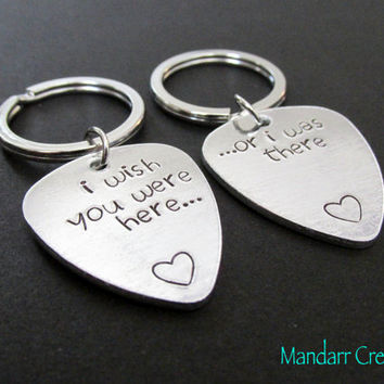 Couples Keychain, Best Friends, I Wish You Were Here or I Was There, Hand Stamped Aluminum Key Chain, Long Distance Relationship