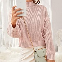Pastel Pink High Neck Drop Shoulder Crop Sweater Women Tops High Neck Basic Casual Solid Sweaters