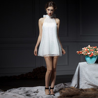 White Mesh High Collar Sleeveless Mini Dress With Pearls Design