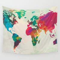 Watercolor World Map Wall Tapestry by PAZWAZ