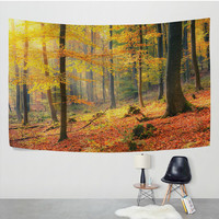 Foggy Yellow Deep Forest Autumn Tapestry Wall Hanging Woodland Grove Landscape Fall Wall Decor Art for Living Room Bedroom Dorm