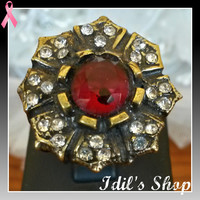 Authentic Turkish Ottoman Style Bronze Ring Encrusted With Ruby And Zirconia Stones. Ring Number Is 9 In US Size.