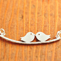 Love Birds Necklace - silver bird necklace, couple necklace, wedding jewelry gift, engagement, mother necklace