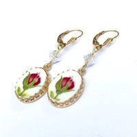 Old Country Roses, Gold Filled Broken China Earrings Jewelry, Red,  Lever Back, Drop Dangle Earrings, Romantic Birthday Gift for Her