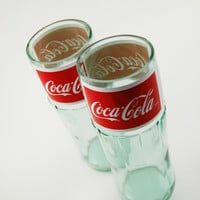 Two Coca-Cola Juice Glasses - upcycled recycled repurposed glass bottles