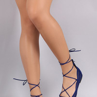 Qupid Suede Perforated Scallop Lace Up Flat