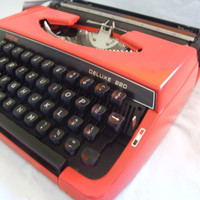Vintage Red Working Typewriter Brother 220 deluxe with original hard case