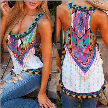 Women's Trending Popular Fashion 2016 Summer Floral Printed Sexy Floral Printed Erotic Top Women Tank Vest Shirt T-shirt _ 3748