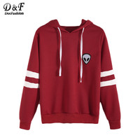 Clothes Autumn Woman's Fashion Fall Varsity Striped Alien Embroidered Hooded Sweatshirt
