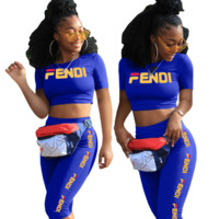 Fendi Fashion New Letter Print Top And Shorts Sports Leisure Two Piece Suit Women Blue