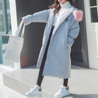 """Adidas"" Women Loose Fashion Hooded Fur Collar Long Sleeve Long Section Cardigan Cotton-padded Clothes Thickened Bread Service Coat"