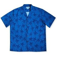 palm breeze blue hawaiian rayon shirt