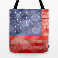 Distressed American Flag with Bokeh Lights Tote Bag by Blooming Vine Design