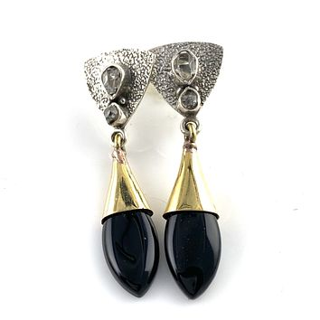 Black Onyx & Herkimer Diamond Sterling Silver Two Tone Earrings