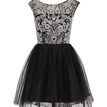 Dresstells Short Tulle Prom Dress Quinceanera Party Dress with Beadings
