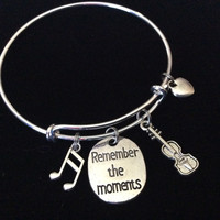Remember The Moments Orchestra Music Silver Expandable Bangle Bracelet Meaningful Graduation Gift