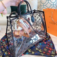 Louis Vuitton LV Hot Sale Women Shopping Bag Transparent Beach Jelly Handbag Tote Shoulder Bag Satchel