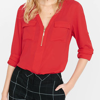 Long Sleeve Zip Front Blouse from EXPRESS