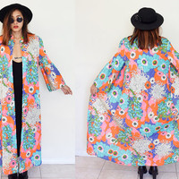 Vintage 60's chinese collar bell sleeves mod floral flower light coat maxi dress duster