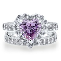 BERRICLE Sterling Silver Purple Cubic Zirconia CZ Halo Heart Womens Engagement Wedding Ring Set