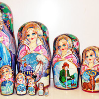 Nesting Doll 10pcs 10 inch 25cm Matryoshka, Russian doll, Russian matryoshka doll, Nested doll, Matrioshka, Matroschka – Snow Queen kod307
