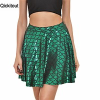 Qickitout Skirts 2016 Sexy Women Skirt Fashion Fall Winter Skirts S-4XL High Waist Pleated Mermaid Scales Skater Skirt For Women