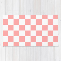 Coral Pink Checker Squares Area & Throw Rug by BeautifulHomes   Society6