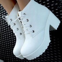Punk Rock Lace-Up Heels thick heel Ankle Boots (please measuring your foot length carefully) = 5708893185