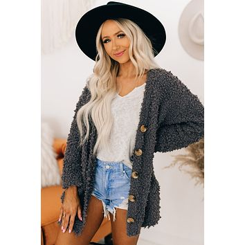 Don't Bother Me Popcorn Knit Cardigan (Charcoal)