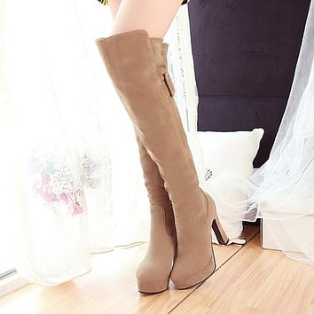 Women Over the Knee Boots Flock High Heels Thick Heel Platform Shoes Woman 2016 3519
