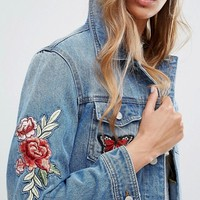 Pimkie Floral Embroidered Denim Jacket at asos.com