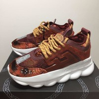 KUYOU V008 Versace Fashion Breathable Height Increasing Shoes Wine Red Yellow