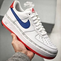 Nike Air Force 1 lychee pattern small hook string lace-up low-top wild shoes