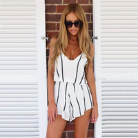 White Striped Spaghetti Strap Boho Beach Romper
