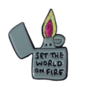 Set The World on Fire Enamel Pin in Gray Lighter