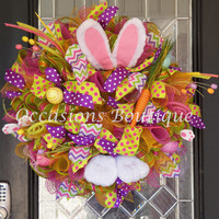 Easter Wreath, Easter Door Hanger, Easter Decoration, Spring Wreaths, Whimsical Wreath, Bunny Wreath, Front door wreaths, Ready to Ship