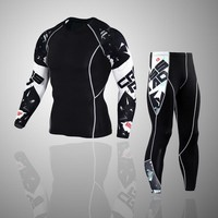 2018 MMA Men's Compression Run jogging Suits Clothes Sports Set 4xl Long t shirt And Pants Gym Fitness workout Tights clothing