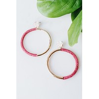 Split Metal & Rhinestone Circle Earring