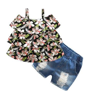 flower girl's clothing sets baby girl suit sets cotton sleeveless floral shirts blouse+denim shorts